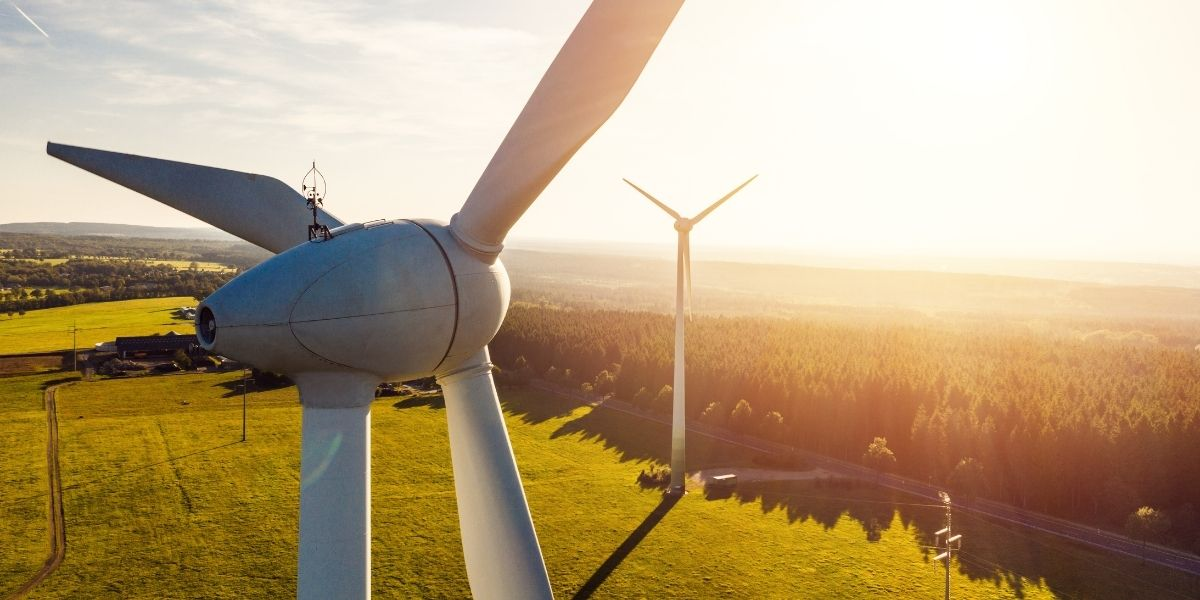 vista de molinos de energía eólica en el campo
