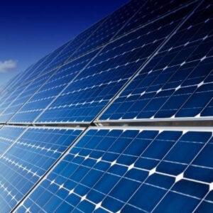 visión de cerca de placas solares